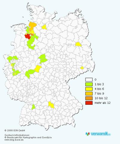 Verteilung des Namens Ordemann in Deutschland
