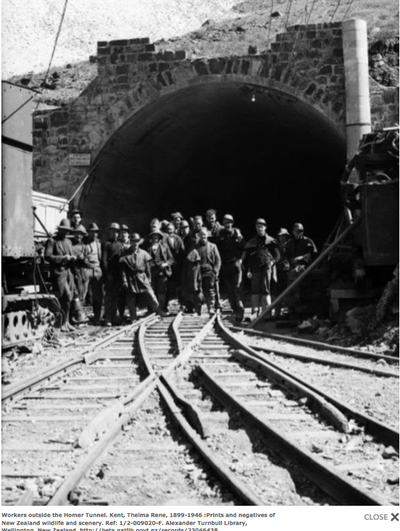 Workers outside the Homer Tunnel sometime after 1940 when 'hole-through' was achieved. Photo by Thelma Kent Turnbull, Collection, Wellington.