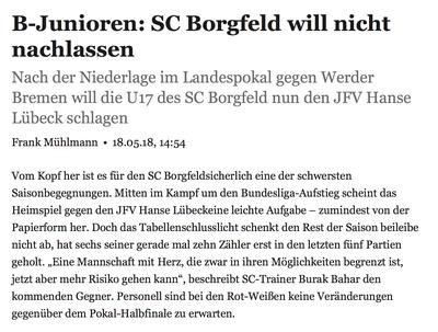Sportbuzzer des Weserkurier (18.05.2018)