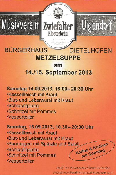 Flyer Metzelsuppe 2013