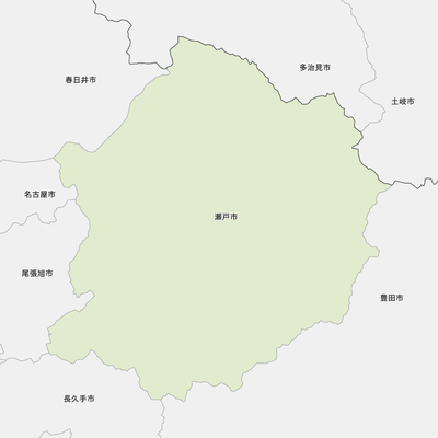 瀬戸市と近辺の市の地図