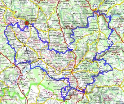 De La Mérelle de Collonges-la-Rouge, vous découvrirez Curemonte, Beaulieu-sur-Dordogne, Argentat, et les Gorges de la Dordogne. Au retour vous passez par les Gorges de la Cère, Saint-Céré, Autoire, Loubressac et Carennac, Martel, et Turenne