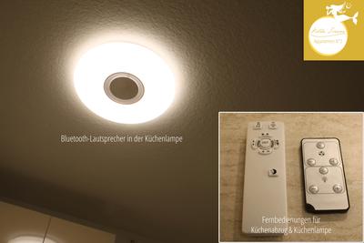 Villa Sirene Binz, Wohnung Nr. 2: in der dimmbaren Küchenlampe ist ein Bluetooth-Lautsprecher integriert