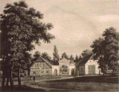 Einfahrt zum Rittergut Bockerode im 19. Jahrhundert