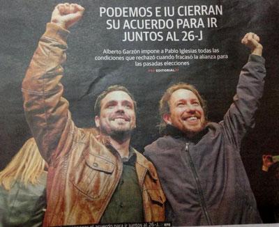 Pablo Iglesias (Podemos) og Alberto Garzón (IU)