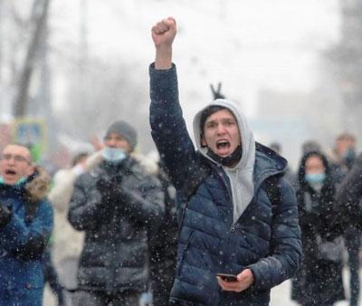 Moskva d. 27 januar 2021: Titusinder på gaden mod Putin-regimet