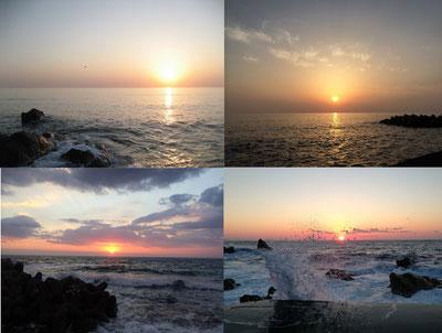 日本海に落ちる四季の夕日に癒されます。