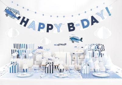 Deko#Geburtstagsdeko#kunterbunt#wunstorf#blauweiß#flugzeug