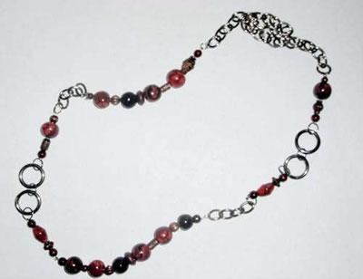 Schmuck Kette mit braun schwarzen Perlen aus Fimo und Kettenglieder