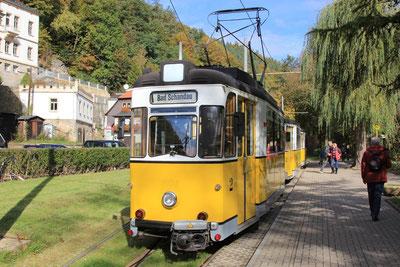 Start der Kirnitzschtal Bahn vom Stadtpark in Bad Schandau!