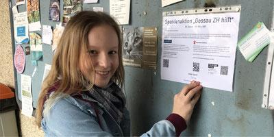 Macht mit Plakaten auf ihre Spendenaktion aufmerksam. Bild: zvg