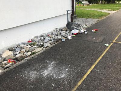 Ein Bild der Verwüstung: Schulanlage Berg in Gossau am 22.9.19