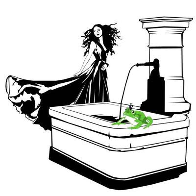 Prinzessin tanzt am Brunnen aus dem Märchen Froschkönig