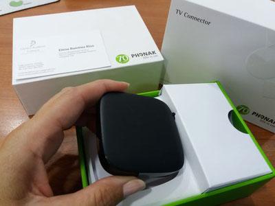 TV Connector convierte tus audífonos Phonak en auriculares inalámbricos.