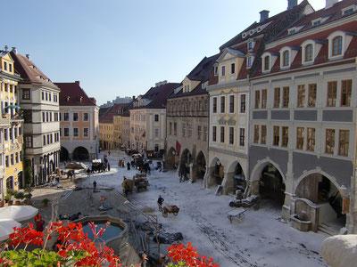 """Der Untermarkt bei den Dreharbeiten zum Film """"Goethe!"""" © Stadt Görlitz"""