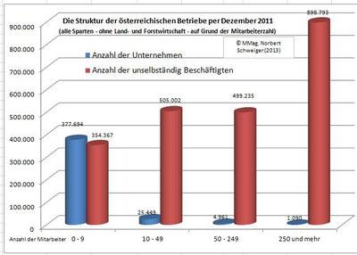 Die Struktur der österreichischen Betriebe per Dezember 2011 (ohne Land- und Forstwirtschaft)