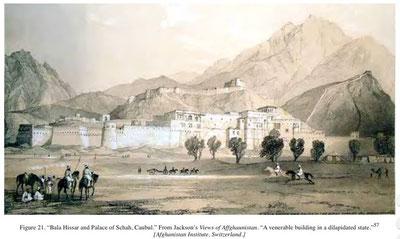 منظره کابل - رسامی جاکسن؛ انستیتوت افغانستان - سویتزرلند (از متن رساله)