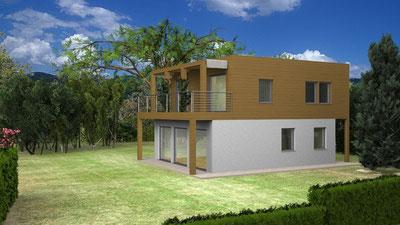 Villa moderna, 2 piani, 125mq