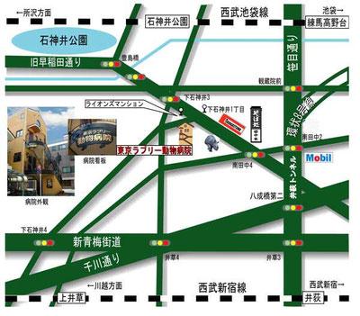 練馬区の東京ラブリー動物病院の地図の画像です