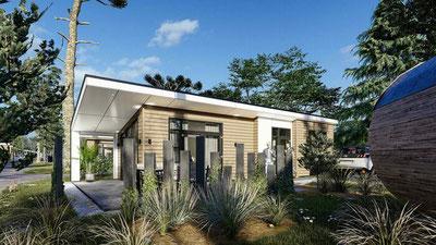 Te koop vakantiehuis voor 4 personen op de Veluwe met eigen grond, inboedel en sauna in Ede