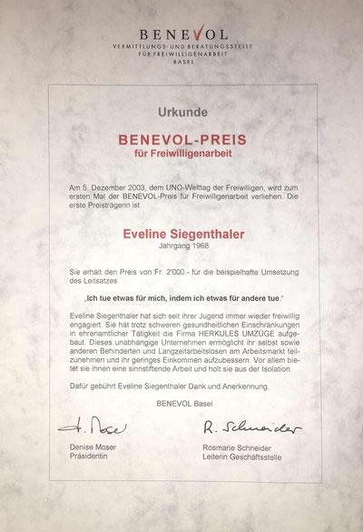 Eveline Siegenthaler, IG Integration Jetzt Basel, Benevol-Preis 2003