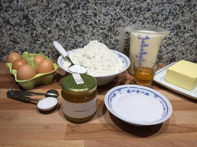 Zutaten für Honigwaffel
