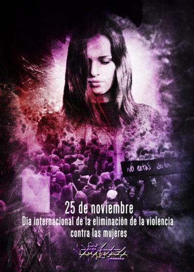 violencia de género, 25 de noviembre, poster, cartel, morado, eliminación de la violencia de género, día internacional