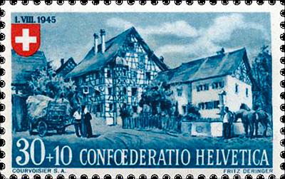 Briefmarke Pro-Patria von 1945, Ostschweizer Riegelhaus in Oberstammheim (ZH)
