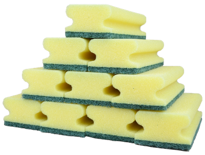 zehn zur Pyramide gestapelte gelb-grüne Schwäme