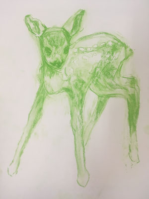 Drawing, serie 7 green deers, available at my studio, 2019