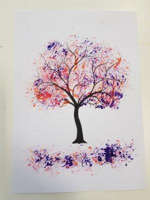 Einfachsttechnik mit Acrylfarbe und Alufolie aufgetragen 1