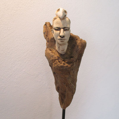 Tree-People, Keramik-Holz, ca. 40 cm