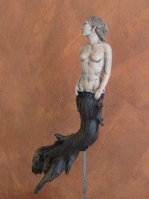 Mermaid, Keramik-Holz, ca. 40 cm