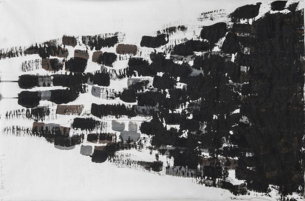 Dark lines, 2018. Acryl cellulose on paper. 90 x 60 cm.