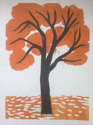 Autumn Herbst Höst 2020 Woodcut  Holzschnitt Träsnitt 40x30