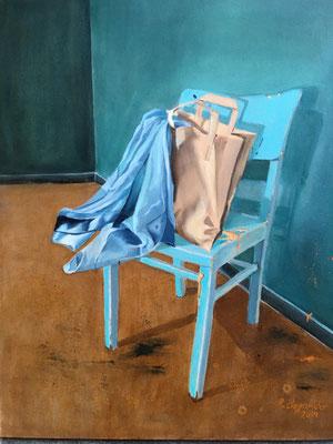 """""""Stuhl mit Tuch"""", Öl auf Malplatte, 50 x 40, 2019"""