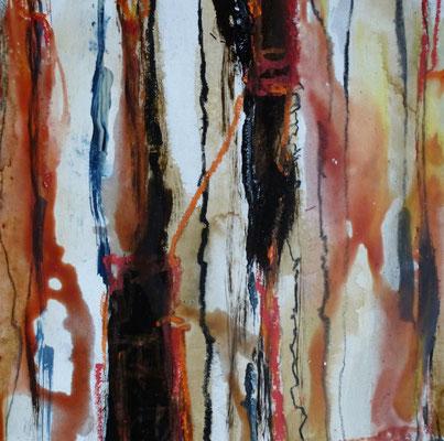 o.T. Naturfarben auf Graupappe/ Casanirahmen, 30x30 cm, 120 €