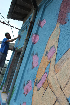 Graffiti - Künstler bei der Arbeit 2016