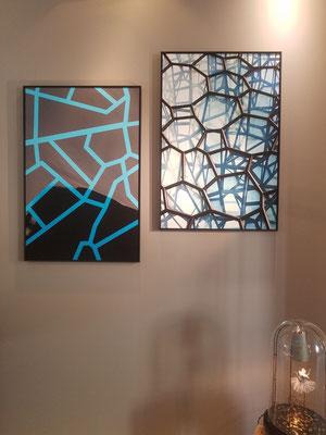 Le saut d'Olive - Une idée en cache une autre, 60x90 cm chacune, Galerie RetouR De Voyage mai 2019