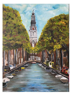 Amsterdam Groenburgwal, olieverf, 60x90 cm