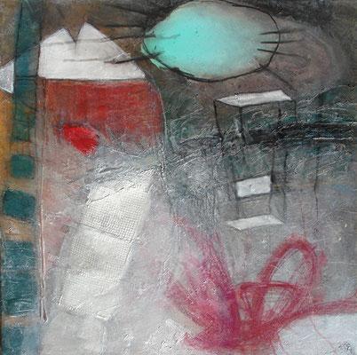 Fisch auf der Leiter,Acryl auf Lwd 80 x 80 ,2006