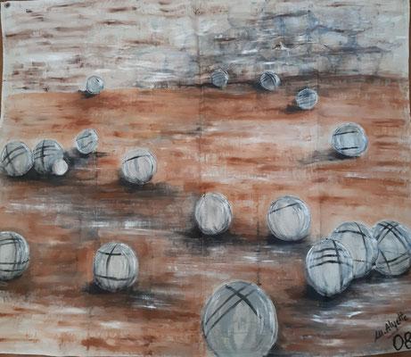 Pétanque / Toile de 1,90 x 1,50  cm/  Acrylique / Prix 200 euros