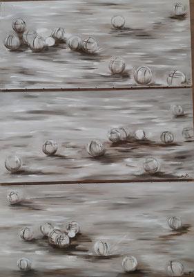 Tryptique de pétanque / 35 x 75 cm / Huile / Prix : 100 euros l'un