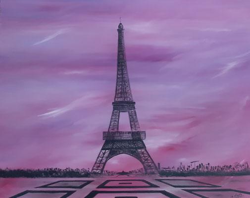 Tour Eiffel, esplanade / 81 x 65 cm / Huile / Prix : 250 euros VENDU