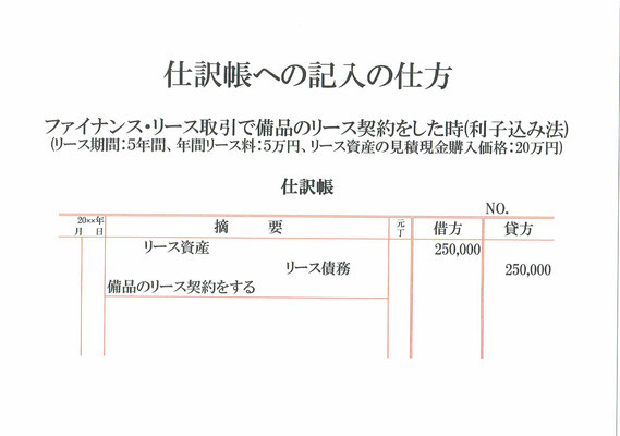 仕訳帳(リース資産・リース債務)