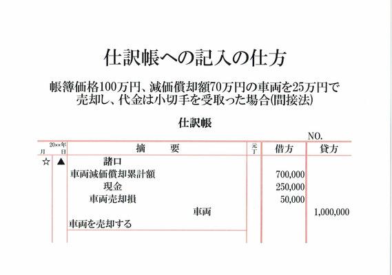 仕訳帳(車両減価償却累計額・現金・車両売却損・車両)