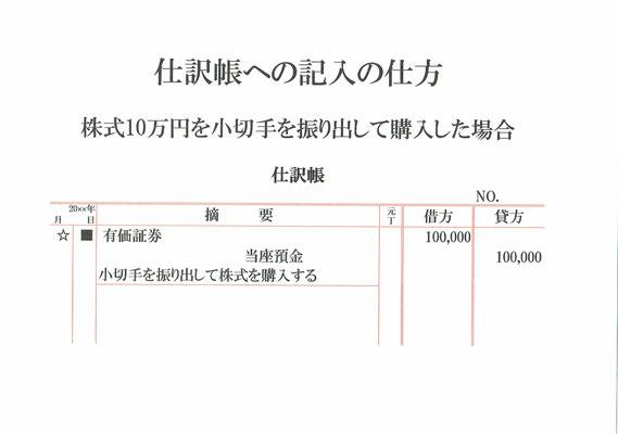 仕訳帳(有価証券・当座預金)
