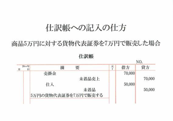 仕訳帳(売掛金・未着品売上・仕入・未着品)