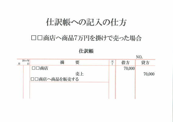 仕訳帳(□□商店・売上)