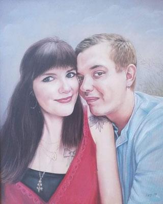 Paar und Single Portrait Pastellgemälde